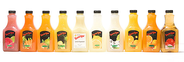 Sunripe ready-to-drink juice in 1 L bottle packaging