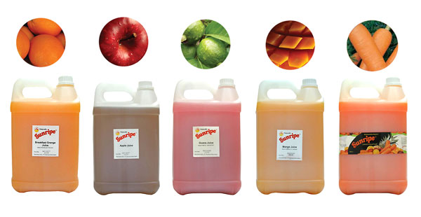 Sunripe ready-to-drink juice in bulk size packaging for hotels, restaurant and catering